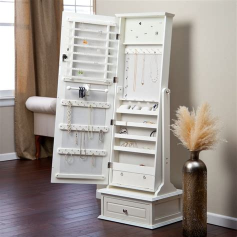 white mirrored jewelry cabinet armoire transitional cheval mirror jewelry armoire with base
