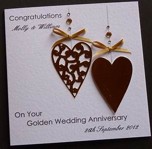 handmade personalised golden 50th wedding anniversary With images of handmade wedding anniversary cards