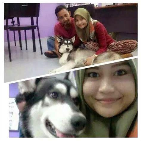 Cerita Sebenar Disebalik Gambar Wanita Bertudung Pegang Anjing