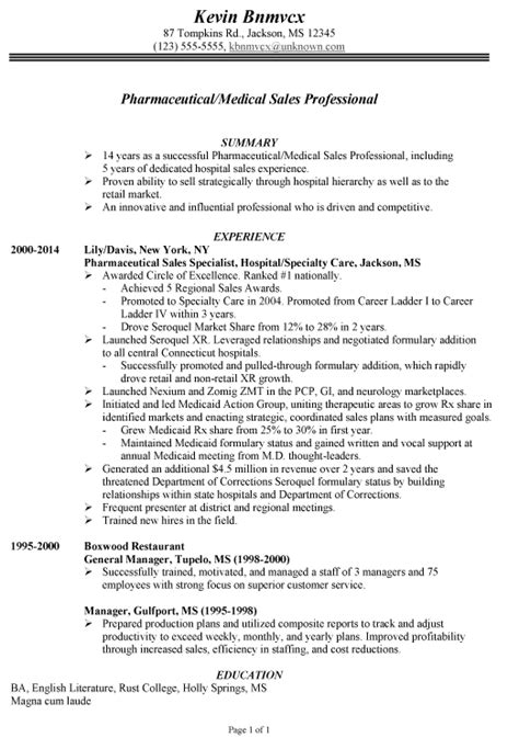 Great Chronological Resume by Chronological Resume Exle For Pharmaceutical