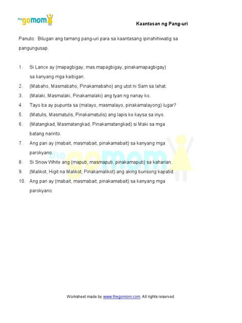 anyo ng pang uri worksheet for grade 2 kaantasan ng pang uri 6 worksheets