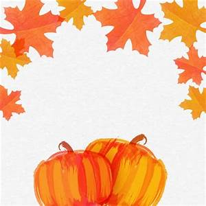 Hand drawn pumpkins with autumn leaves for Thanksgiving ...