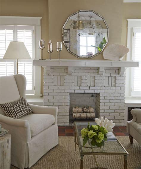 white brick fireplace white brick fireplace cottage living room nikie barfield