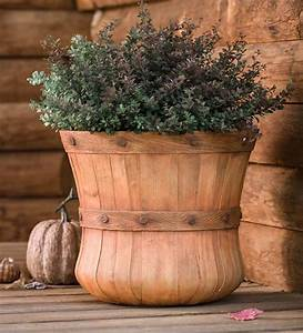 Large, Faux, Wood, Bushel, Basket, Planter