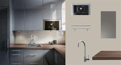 cuisine ikea applad faktum cuisine avec abstrakt portes tiroirs brillant gris et lansa poignées acier inoxydable