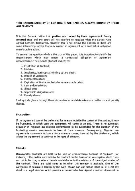THE UNENFORCEABILITY OF CONTRACT: FOCUS ON PENALTY CLAUSES.   BUNMI JASMINE OLUWAGBEMI-OMEKE