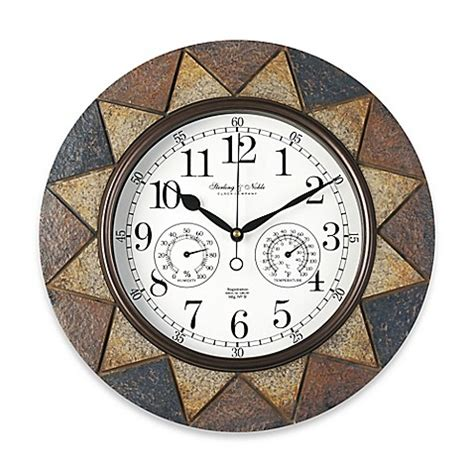 outdoor wall clock and thermometer slate indoor outdoor wall clock bed bath beyond 7248