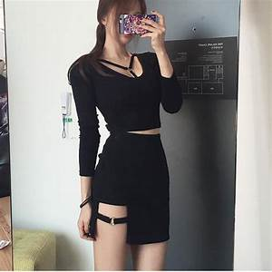 Korean Black Ring Strap Skirt Black Ring Strap Top SD02402