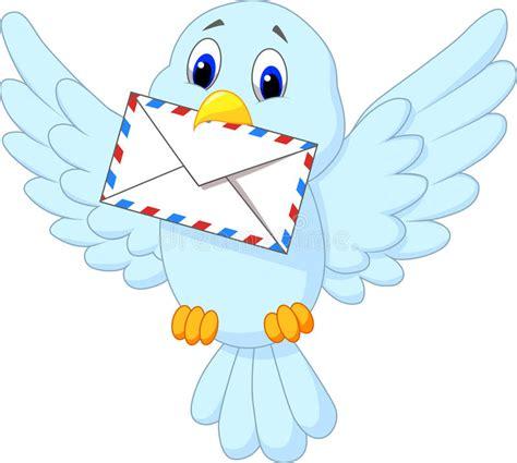 11478 mail letter clipart bird delivering letter stock vector
