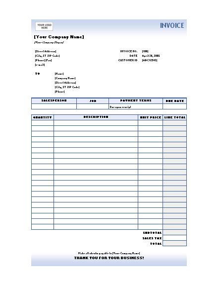excel invoices templates  type service