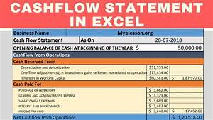Cash Flow Statment Make Cash Flow Statement In Excel Youtube