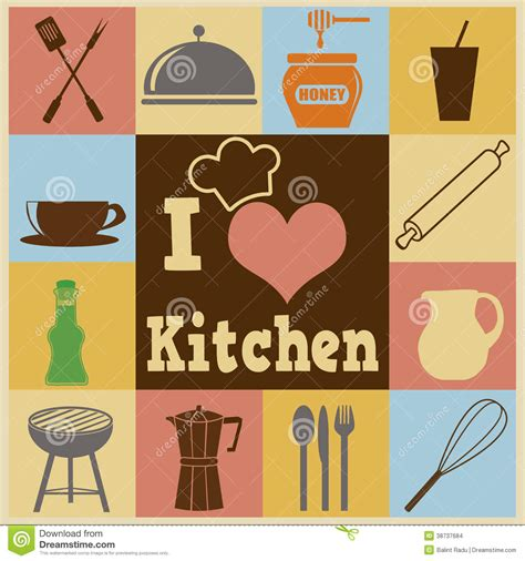 affiche cuisine vintage kitchen retro poster stock images image 38737684