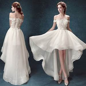 wedding dress short front long back train appliques With plus size wedding dresses with long trains