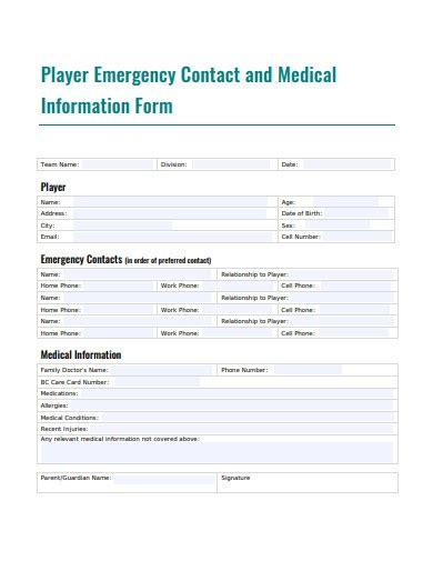 emergency medical information form templates