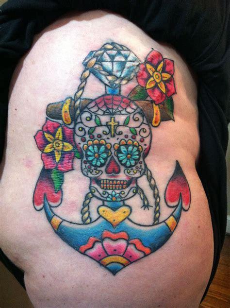 sugar skull diamond anchor  flowers tattoos tattoos tattoo designs  girls simple