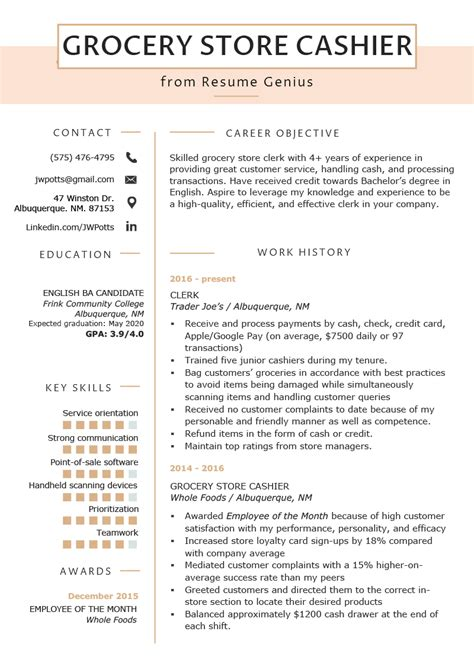 Working Skills Resume by Grocery Store Cashier Resume Exle Tips Resume Genius