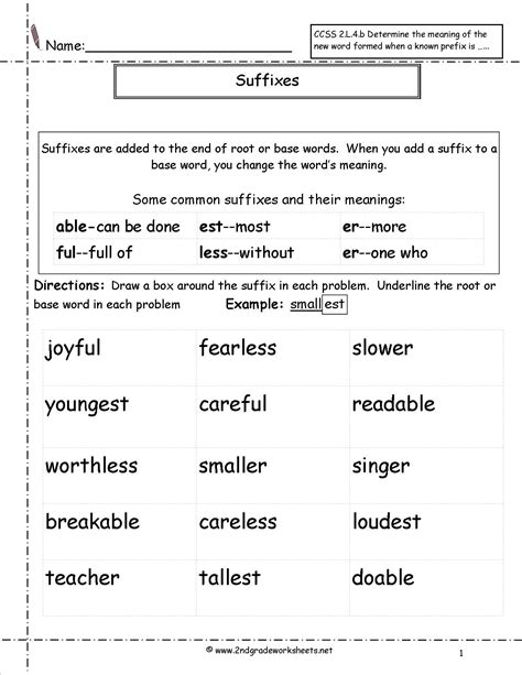 second grade prefixes worksheets