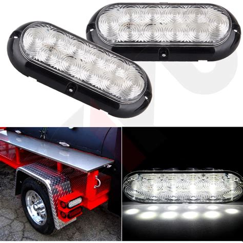 Led Boat Trailer Backup Lights by 2x 6 Quot Clear White 10 Led Oval Truck Trailer Stop Turn