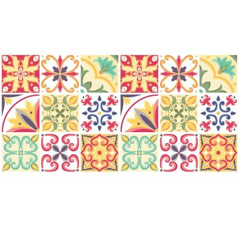 Italian Tiles Stickers   Pack of 18 tiles   Tile Decals