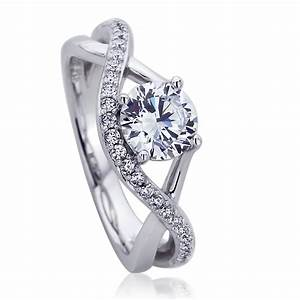 Double accent platinum plated sterling silver wedding for Infinity design wedding ring