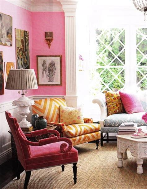 pink velvet chair eclectic living room smith