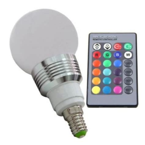 3w e27 rgb multi color led light bulb with remote