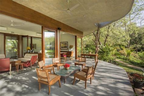 Outdoor Verandah Designs by Breezy Verandah House Embraces Indoor Outdoor Living In India