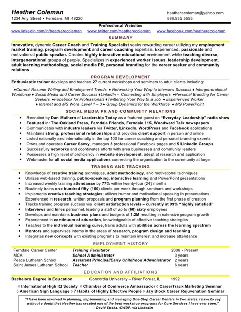 Workshop Facilitator Resume by 4 Social Media Resume Sle