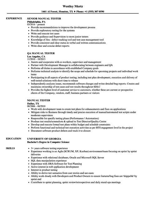 manual testing resume sample   years
