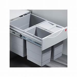 Poubelle Tri Selectif 2 Bacs : poubelle coulissante 3 bacs 35l gris ~ Dailycaller-alerts.com Idées de Décoration