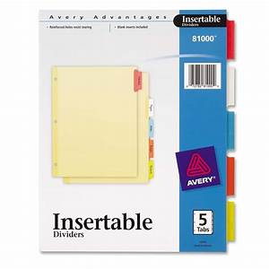 Avery 3 hole 5 tab divider ld products for 5 tab insertable dividers template