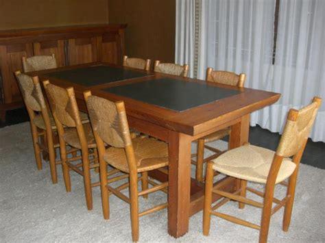 table et chaise de salle a manger table de salle à manger avec ardoises vertes et 8 chaises