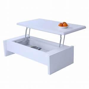 Table Basse Multifonction : table basse design r glable blanche avec rangement achat ~ Premium-room.com Idées de Décoration
