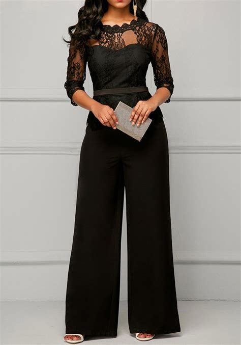 black jumpsuit for wedding black patchwork lace peplum wide leg formal