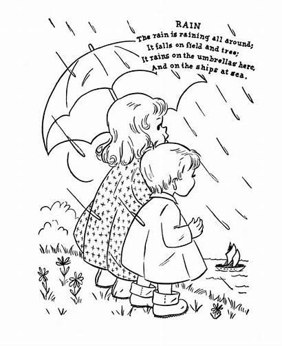 Nursery Coloring Rhymes Rhyme Pages Rain Printable