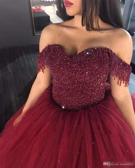 burgundy   shoulder quinceanera dresses ball gowns