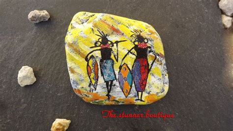 african painted rock yellow painted art unique gift
