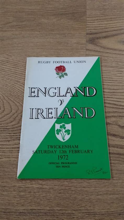 England v Ireland 1972 Rugby Programme - Rugbyreplay