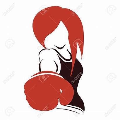Boxing Gloves Vector Woman Boxer Icon Female