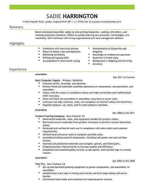 Production Description For Resume by Best Assembler Resume Exle Livecareer