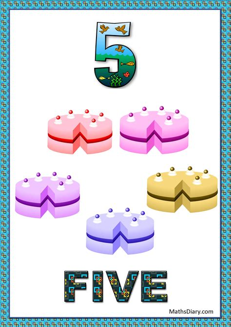 learning counting and recognition of number 5 level 2