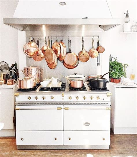 copper pots  white lacanche range   kitchen copper pots home kitchens