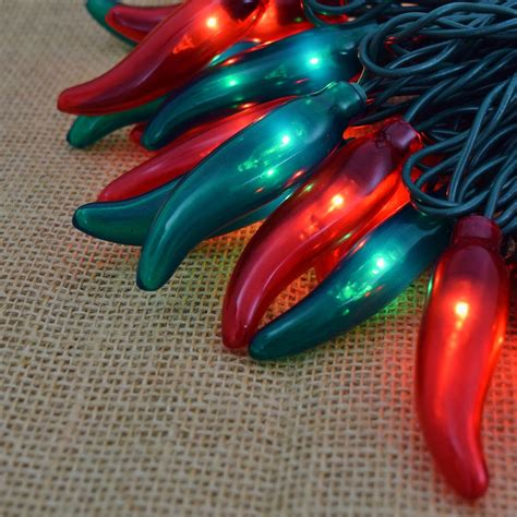 red and green chili pepper string lights 35 lights