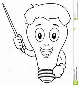 Bulb Coloring Character Pointer Cartoon Idea Bright Holding sketch template