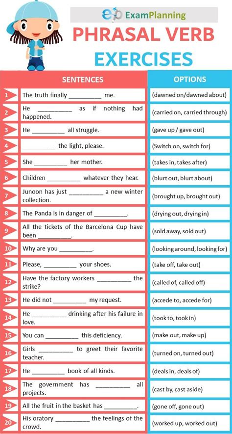 phrasal verbs exercises  answers verb exercise