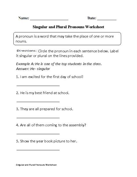 Pronouns Worksheets  Singular And Plural Pronouns Worksheets