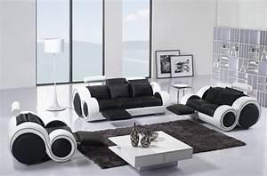 deco in paris ensemble cuir relax oslo 3 1 1 places noir With ensemble canape cuir relax