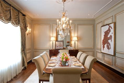 Wall panel design dining room traditional with table