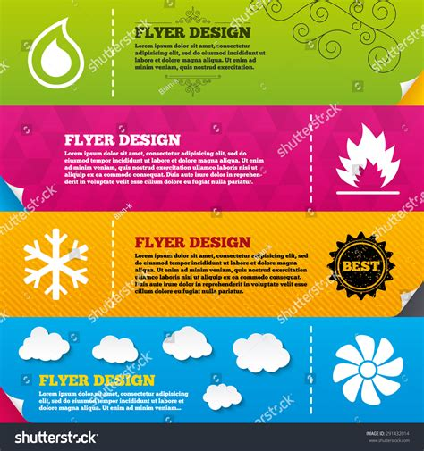flyer brochure designs hvac icons heating stock vector