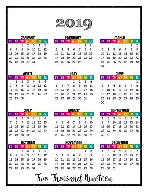 printable year glance lovely addition